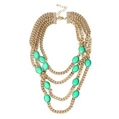All Seeing Jade Color Rhinestone Party Necklace