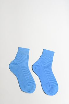 Maria La Rosa Short Ribbed Wool Socks in Pale Blue