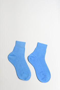 Maria La Rosa Short Ribbed Wool Socks in Pale Blue