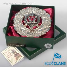 Johnstone Clan Crest Plaid Brooch. Free worldwide shipping available