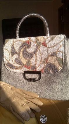 Купить Валяная сумка-саквояж. - серый, абстрактный, зеленый, коричневый, беж, терракот, сумка женская