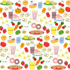 Happy Snacks! fabric by clayvision on Spoonflower - custom fabric