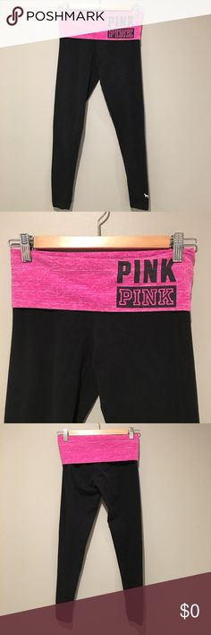 PINK Yoga Tights Size XS PINK Yoga Tights Size XS. Pink color roll top waist band. EUC PINK Victoria's Secret Pants Leggings