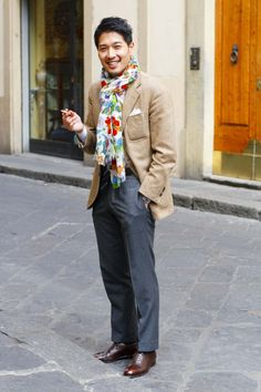 Taka of Liverano & Liverano jacket scarf lookbook streetstyle