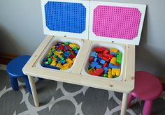 New Photos The Best LEGO Table (IKEA HACK) . Ideas On certainly one of my very regular visits to IKEA I discovered cheaper lacking platforms that were Lego Tisch Ikea Hack, Table Lego Ikea, Ikea Kids, Kids Play Table, Kids Stool, Lego Storage, Record Storage, Sensory Table, Legos