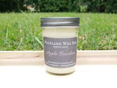 Apple Bourbon Soy Candle by Highland Wax Bar with notes of apple, maple, and bourbon. Apple Bourbon, Burning Candle, Soy Candles, Mason Jars, Wax, Vanilla, Fragrance, Coconut, Notes