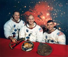 """The original Apollo 13 crew, from left to right: Jim Lovell, Thomas """"Ken"""" Mattingly, Fred Haise. Credit: NASA"""