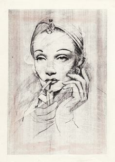 Vintage 1 Marlene by TDKev (Marlene Dietrich portrait) | First pinned to Celebrity Art board here... http://www.pinterest.com/fairbanksgrafix/celebrity-art/ #Drawing #Art #CelebrityArt
