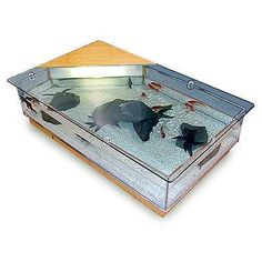 a cool hexagonal coffee table w/ beveled glass top. i can easily