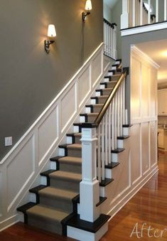 10 Creative Ideas Can Change Your Life: Wainscoting Styles Half Walls wainscoting stairs home.Colonial Wainscoting Home wainscoting living room board and batten.Colonial Wainscoting Home. Stairs In Living Room, House Stairs, Carpet Stairs, Stairs In Kitchen, Hall Carpet, Wainscoting Hallway, Entryway Stairs, Basement Stairs, Wainscoting Ideas