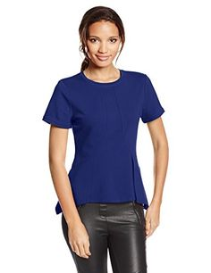 Bcbgmaxazria Women's Scarlet Short Sleeve Peplum Top, Deep Royal Blue, X-small