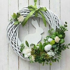 Items similar to easter bunny wreath door wreaths white green decorations mo . - Items similar to easter bunny wreath door wreaths white green decorations moss decor on etsy – - Diy Wreath, Door Wreaths, White Wreath, Etsy Wreaths, Diy Ostern, Ostern Party, Deco Floral, Easter Crafts, Christmas Wreaths