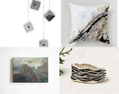 Spring 34 by missvintagewedding on Etsy featuring concrete jewelry - silver necklace with a gray concrete cube pendant by shooohsJewelry
