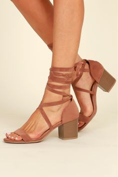 Cut to the Chase Lace Up Heel Camel