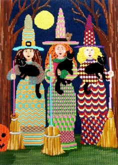 Halloween witches needlepoint
