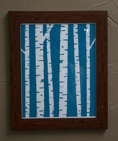 Birch Trees 8x10 ScreenPrint- Limited Edition in Blue and Brown. $20.00, via Etsy.