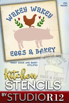 "Good Morning! Time to rise and shine, with this clever ""Wakey Wakey Eggs & Bakey"" design. Our templates help you easily paint this fun kitchen sign. With its chicken, pig, laurel and heart accents it would also make a perfect farmhouse barn sign! StudioR12's stencils are made of durable mylar, so they can be reused to paint your project any way you wish! Create one for yourself & one as a gift! We also offer brushes and wood surfaces! American made! 100% guaranteed! Quick shipping! STCL3720"