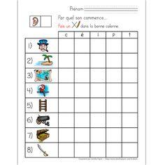 Fichiers PDF téléchargeables Versions en couleurs et en noir et blanc 3 pages  L'élève doit trouver par quel son commence chacune des 8 images en traçant un X dans la bonne colonne. Le document contient 3 pages avec les mêmes images placées dans un ordre différent pour éviter la copie d'un élève à l'autre.