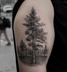 Black and Gray Ink Tree by Turan