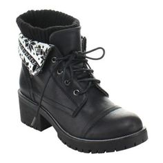 The Ivanka03 boot offers a fashionably rugged design in faux leather with an above-the-ankle height featuring a folded down print. It has a classic capped toe, mid heel, and lugged outsole for traction.