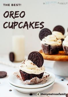 Ready for the best Oreo Cupcakes you've ever tasted?! Oreo cupcakes have a rich chocolate cupcake with Oreo cookie chunks and chocolate chips baked into the cake and topped with a fluffy cream cheese frosting and covered with more Oreo cookie crumbles.  #themelrosefamily #oreocupcakes #oreocupcakesrecipe  #cupcakes #newrecipe #healthytreat #healthyrecipe #healthymeal #buzzfeedfood Fancy Cupcakes, Oreo Cupcakes, Cupcake Cakes, No Bake Desserts, Easy Desserts, Dessert Recipes, Yummy Recipes, Breakfast Recipes, Chocolate Desserts
