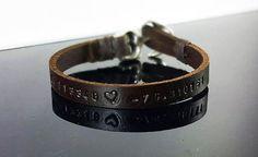 Mens Personalized Bracelet Men's leather bracelet  by DenizKumu