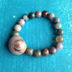Moon Snail Seashell Bracelet Sea Shell Jewelry by UniqueCastaways, $25.00