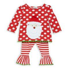 Red Dot Stripe Santa Tunic and Legging Set