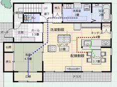 間取り成功例37坪 シンプルモダンの合理的な家 | アトリエコジマ~注文住宅理想の間取り作りと失敗しないアイデア・実例集~ Sims, My House Plans, House Layouts, Floor Plans, Flooring, How To Plan, Architecture, Building, Design