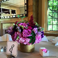 Pink, Purple, and Fuchsia Centerpiece by The French Bouquet