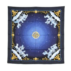 1stdibs | HERMES Navy Cosmos Scarf with Horses and Stars