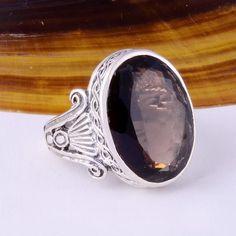 NEW 925 STERLING SILVER SMOKEY CUT RING 8.37g DJR3183 #Handmade #Ring