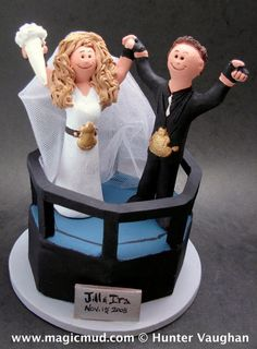 Championship Wrestling Belt Wedding Cake Topper      Wrestling Wedding Cake Topper, custom created for you! Perfect for the marriage of a WWF Wrestling Fan Groom and his Bride!    $235   #magicmud   1 800 231 9814   www.magicmud.com
