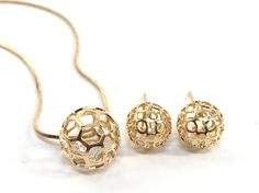 18k Gold Filled Earrings and Pendant Necklace Set  - SPECIAL PRICE!!!!