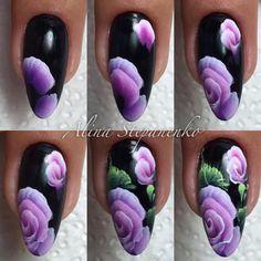 Alina Stepanenko Nails & Co, Diy Nails, Nail Drawing, One Stroke Nails, Nails First, Round Nails, One Stroke Painting, Nail Art Videos, Nail Envy