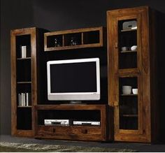 rustico2                                                                                                                                                                                 Más Tv Showcase Design, Casa Anime, Rack Tv, Wooden Tv Stands, Muebles Living, Tv Wall Decor, Tv Unit, Small Rooms, Entertainment Center