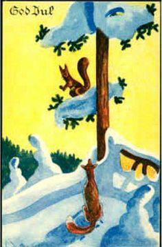 Julekort Kjell Aukrust brukt 1944 Christmas Postcards, Christmas Cards, Norway, Magic, Painting, Pictures, Christmas E Cards, Xmas Cards, Painting Art