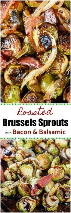 These Roasted Brussels Sprouts with Bacon and Balsamic will turn brussels sprouts haters into brussels sprouts lovers! Why? Because roasting the brussels sprouts with Bacon, onion, and a Balsamic Glaze adds incredible flavor! via @flavormosaic