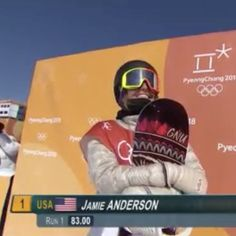 Jamie Anderson (USA) hangs on for her second consecutive Gold in Snowboard Slopestyle. Jamie Anderson, 2018 Winter Olympics, Run 1, Snowboard, February, Usa, Gold, U.s. States, Yellow