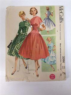 3394 M Vtg 50s Pattern Dress Full Skirt Cuffs Collar Accessories Sz 16 B34