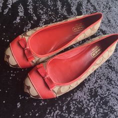 Coach Ballet Flats Classic Coach khaki print with red/orange detailing. Coach Shoes