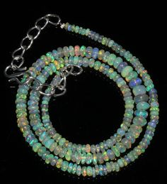 """42 Crts 1 Necklace 3to6mm 17"""" Beads Natural Ethiopian Welo Fire  Opal  60982"""