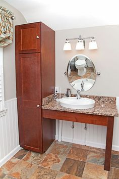 Wheelchairs vanities and sinks on pinterest for Wheelchair accessible sink bathroom