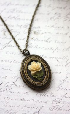 Tiny Ivory Rose Flower Nature Inspired Oval Locket