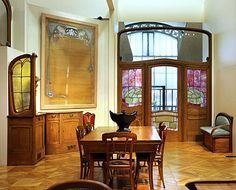 Art Nouveau - Furniture set by Victor Horta in the Hotel Aubeque in Brussels…