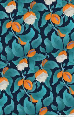Tropical Gardern Patterns by Tetiana Kartasheva, via Behance Color_Complimentary_ Pattern Motifs Textiles, Textile Patterns, Textile Prints, Flower Patterns, Design Floral, Motif Floral, Floral Prints, Boho Pattern, Pattern Art