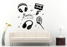 Dj Music Headphones Microphone Cassette Tape Melody Notes Wall Decal Vinyl Sticker Mural Room Decor L1237