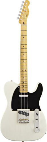 "Squier by Fender Classic Vibe Telecaster 50's, Vintage Blonde by Squier by Fender. $379.99. Squier's Classic Vibe Telecaster '50s puts classic ""blackguard"" Telecaster vibe into a gorgeous Vintage Blonde-finished pine-body guitar—you'll be hard-pressed to tell whether or not you are holding a premium ash-body instrument. The vintage-tint gloss-maple neck has a maple fingerboard with 21 medium-jumbo frets and a modern 9.5"" radius. Distinctive Telecaster ..."