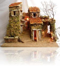 Ambientazione presepe Christmas Nativity Scene, Christmas Home, Nativity Scenes, Miniature Houses, Miniature Dolls, Fontanini Nativity, Fairytale House, Xmax, Ceramic Houses