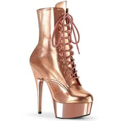 Sport an enticing look wearing the Pleaser Delight 1020 Lace Up Ankle Boot. This lace-up boot features a chrome plated platform bottom and inside zipper closure. Chrome plated platform bottom Inside zipper closure Lace-up closure. Rose Gold Metallic, Rose Gold Chrome, Metallic Look, Gold Lace, Metallic Heels, Neon Heels, Stiletto Heels, Stilettos, Lace Up Ankle Boots